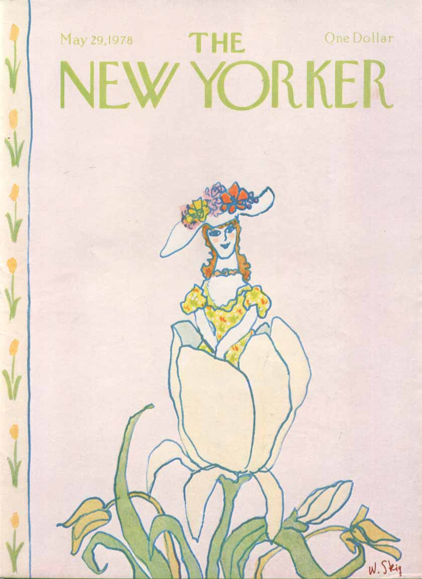 New Yorker cover Steig girl emerge from tulip 5/19 1978