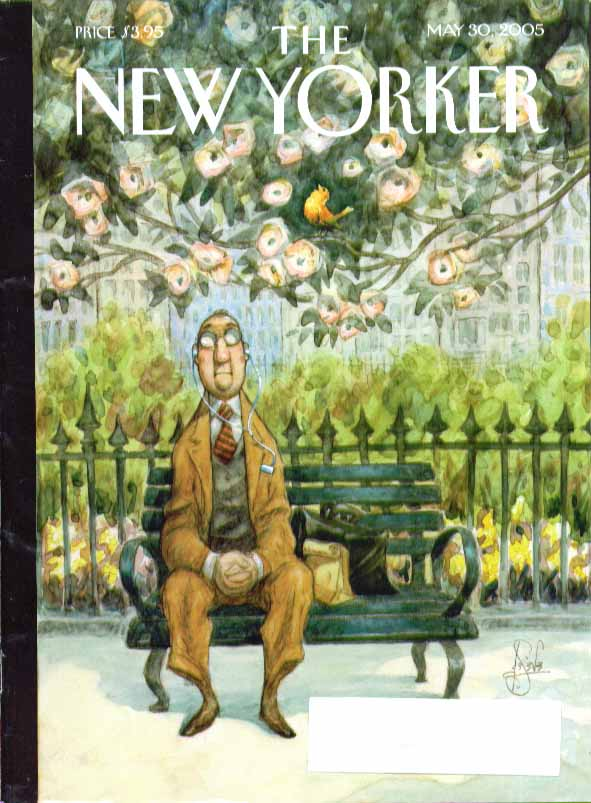 Image for New Yorker cover Peter De Seve businessman with Walkman on park bench 5/30 2005