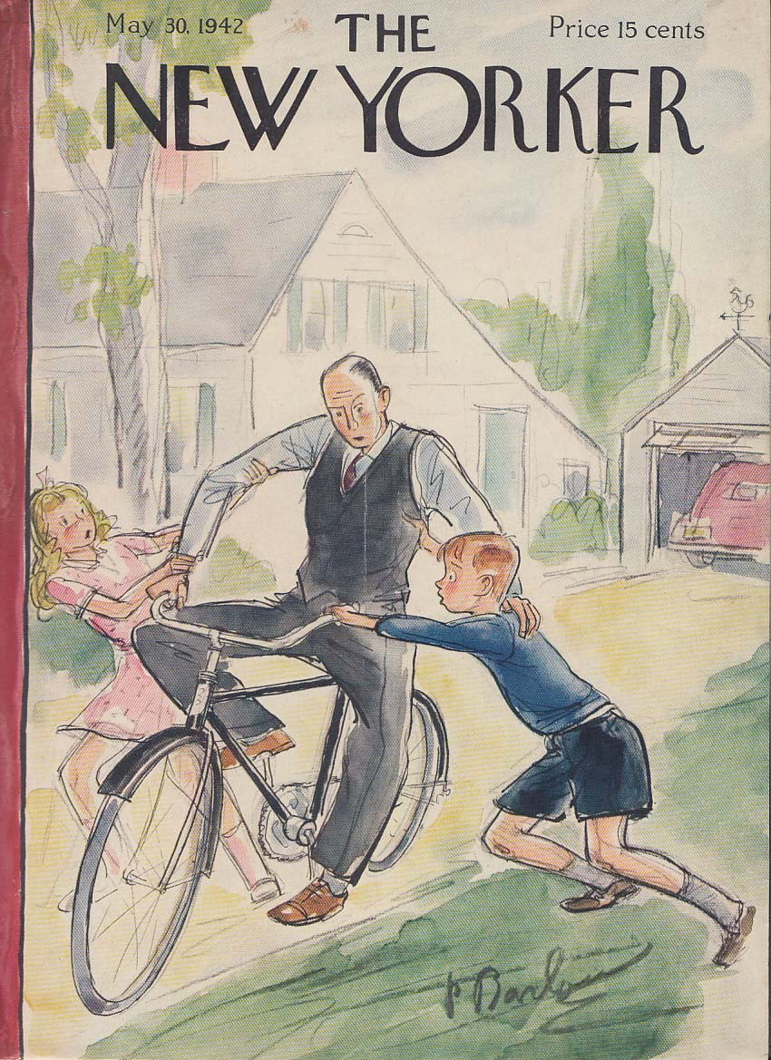 New Yorker cover Barlow man vest tie bicycle 5/30 1942