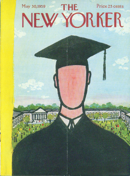 New Yorker cover Birnbaum faceless college graduate 5/30 1959