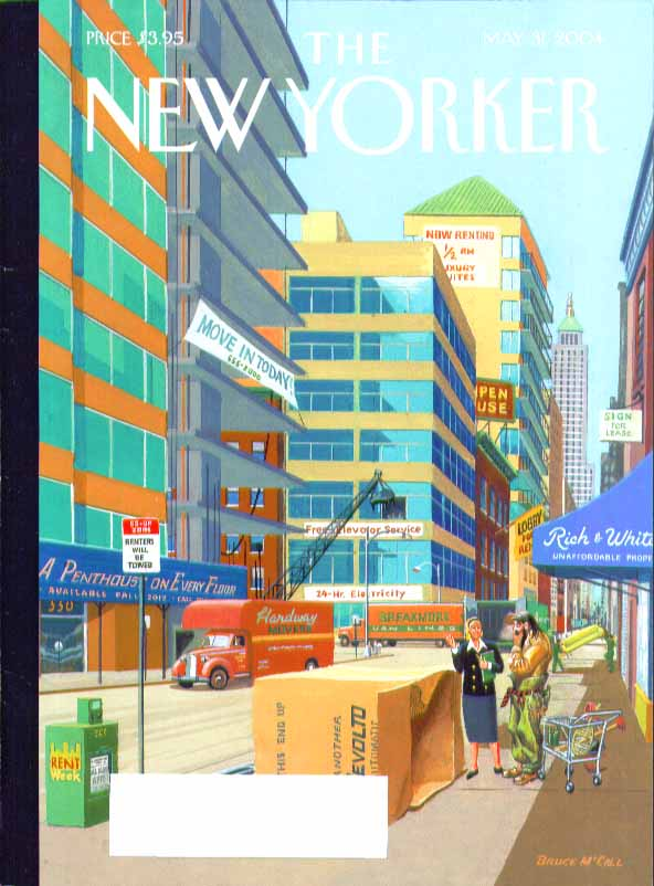 New Yorker cover Bruce McCall unlimited cheap real estate in Manhattan 5/31 2004