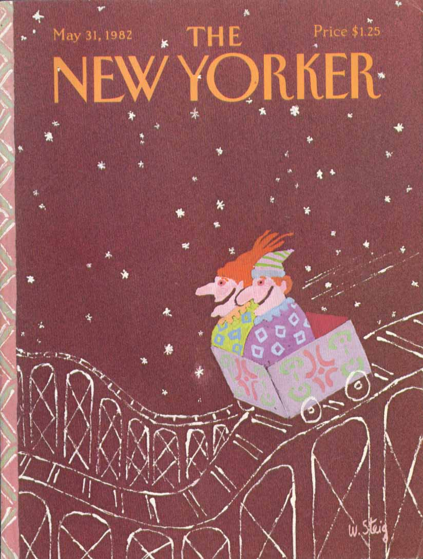 New Yorker cover Steig clowns rollercoaster 5/31 1982