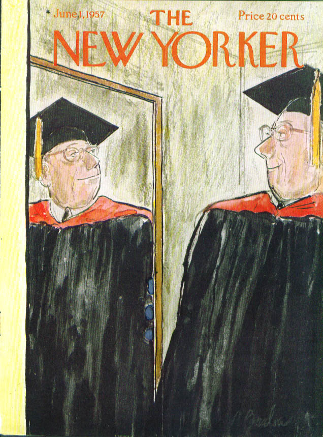 New Yorker cover Barlow old man graduate gown 6/1 1957