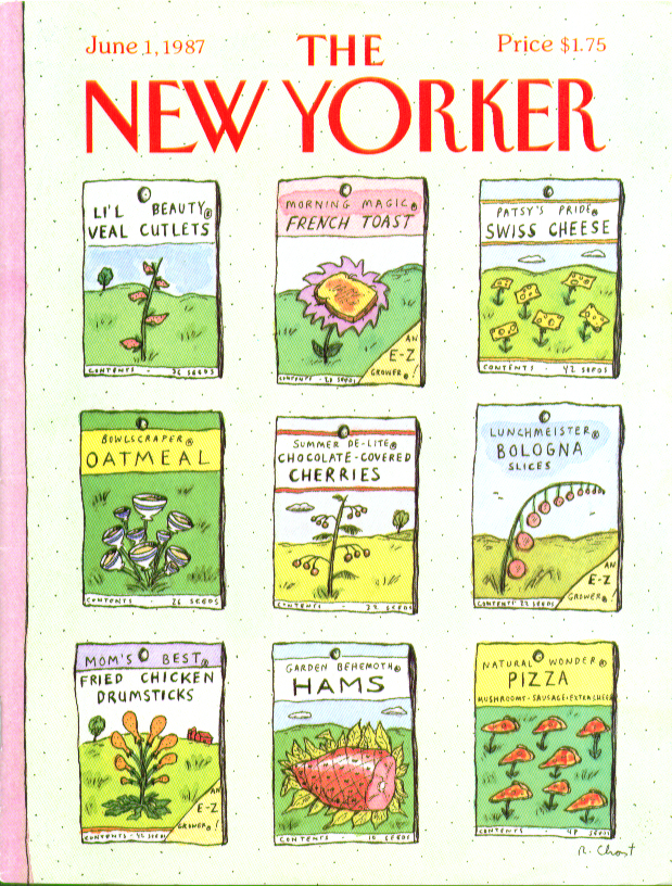 New Yorker cover Chast absurdist seed packets 6/1 1987