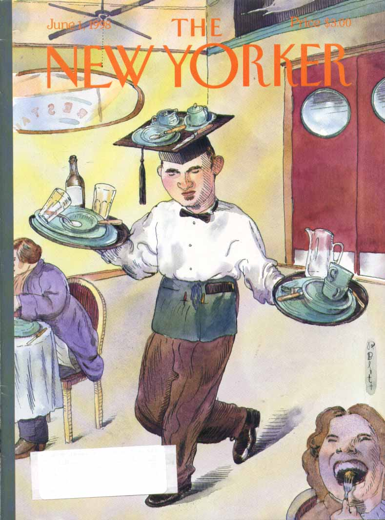 New Yorker cover Blitt waiter in mortarboard 6/1 1998
