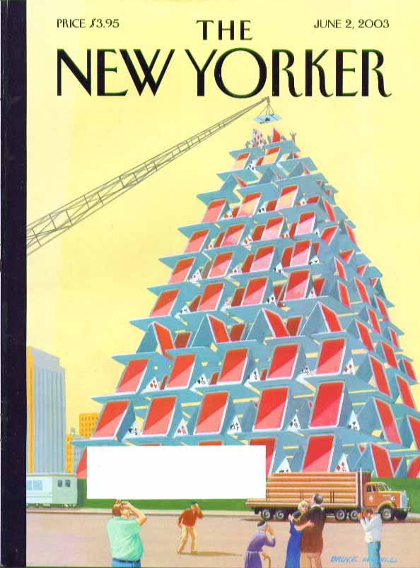 Image for New Yorker cover Bruce McCall building a house of cards skyscraper 6/2 2003