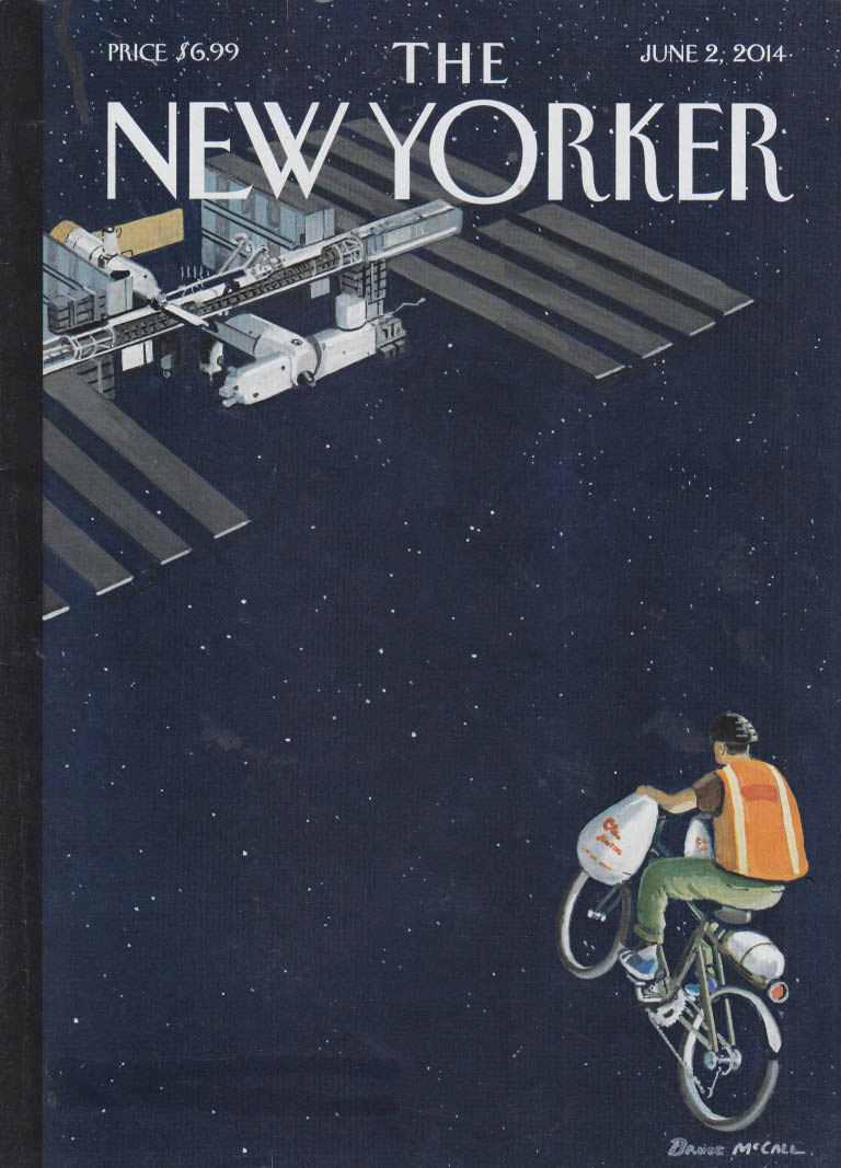 New Yorker cover 6/2 2014 McCall bicycle deliveryman pedals to Space Station