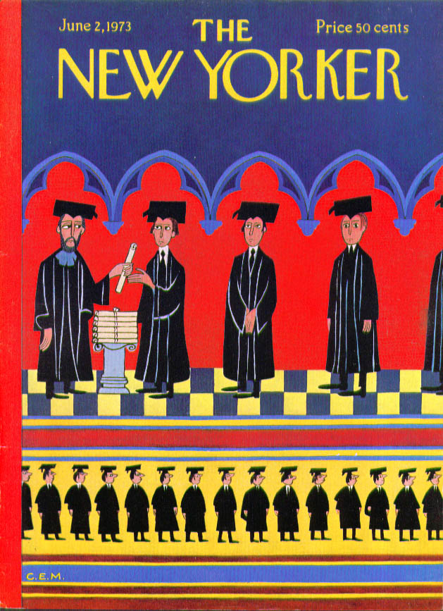 Image for New Yorker cover Martin graduation procession 6/2 1973