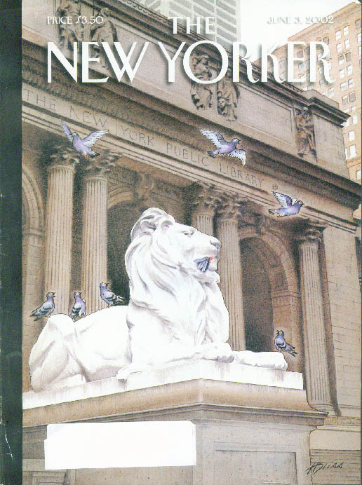 Image for New Yorker cover Harry Bliss NY Public Library lion dines on a pigeon 6/3 2002