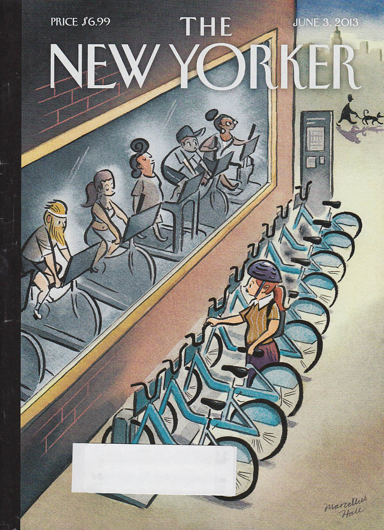 New Yorker cover 6/3 2013 Hall: Citi Bike user sees stationary bikers in gym