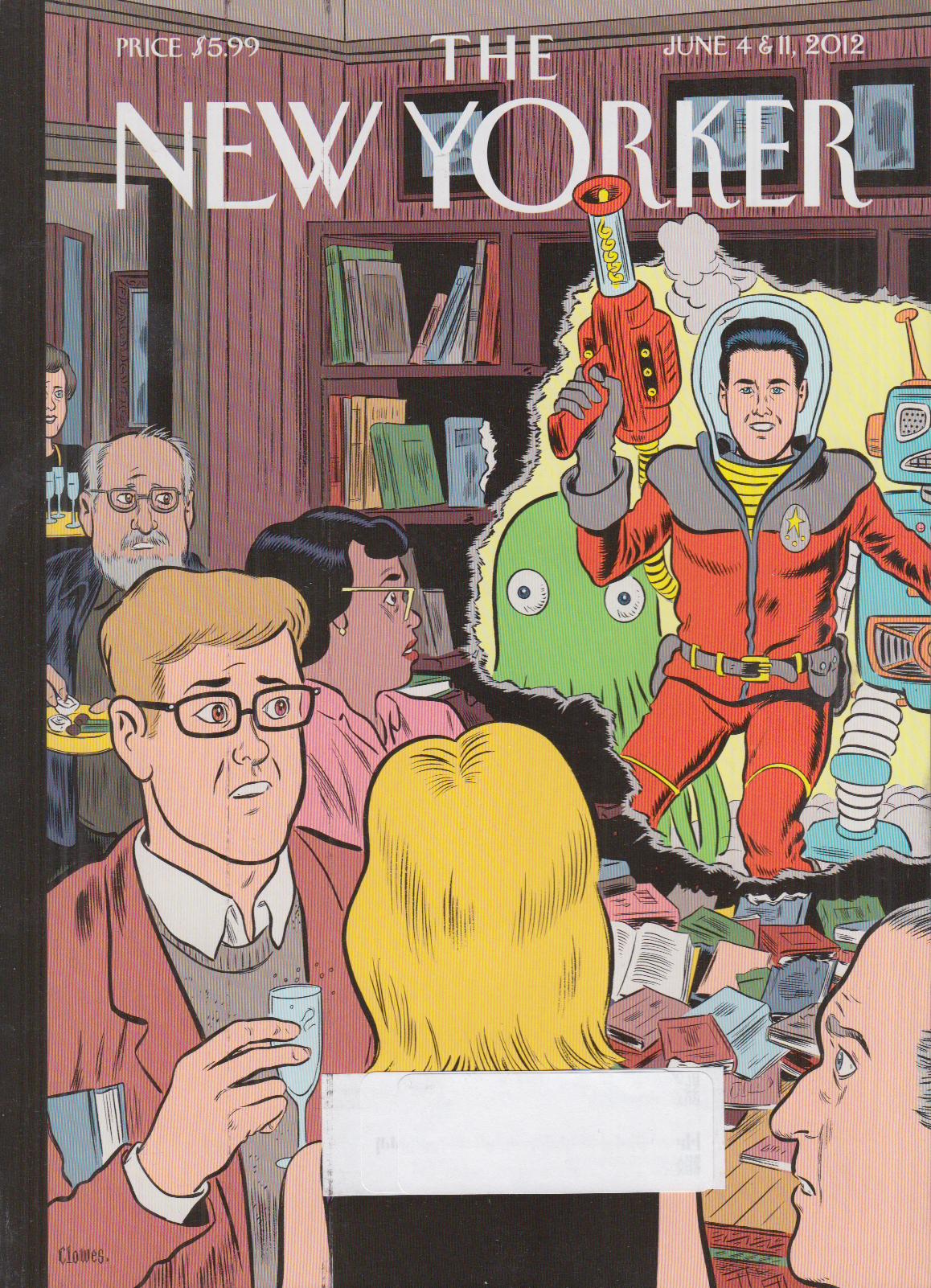 New Yorker cover Clowes 6/4 2012 Raygun superhero crashes cocktail party