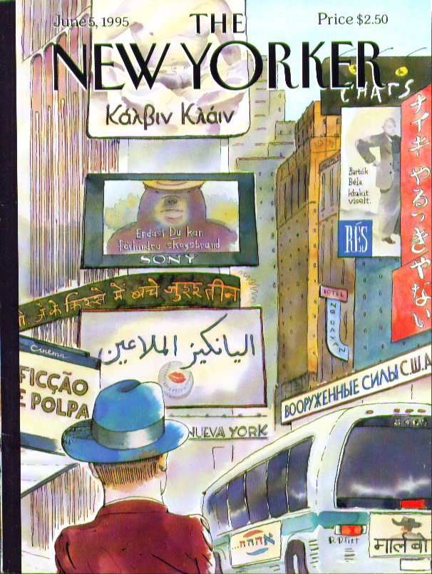 Image for New Yorker cover Blitt Times Square signs in foreign languages 6/5 1995