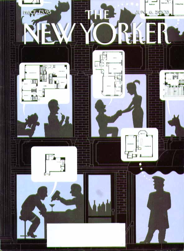 New Yorker cover 6/6 2005 Niemann: people thinking apartment floor plans