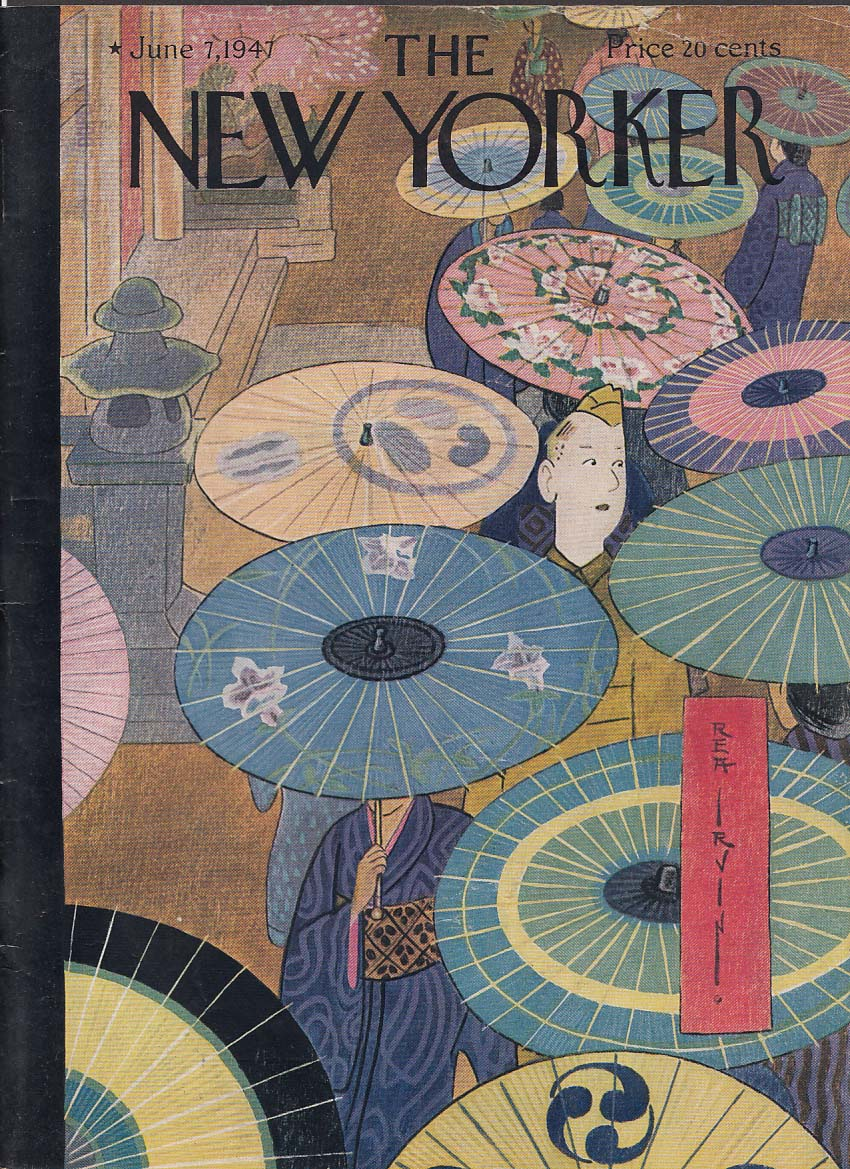 New Yorker cover 6/7 1947 Rea Irvin GI amidst Japanese parasol crowd