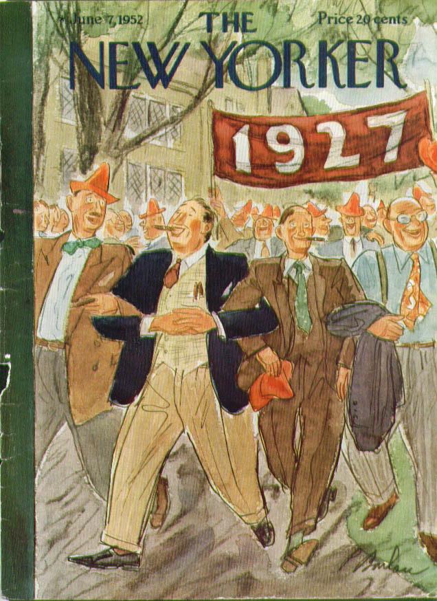 New Yorker cover Barlow '27 parade cigars hats 6/7 1952