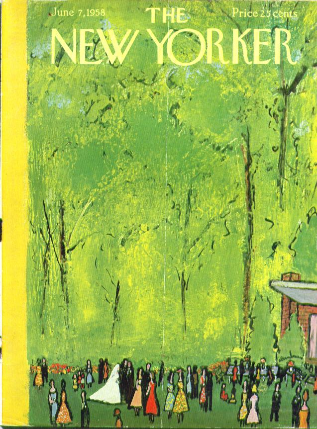 New Yorker cover Birnbaum outdoor wedding  6/7 1958