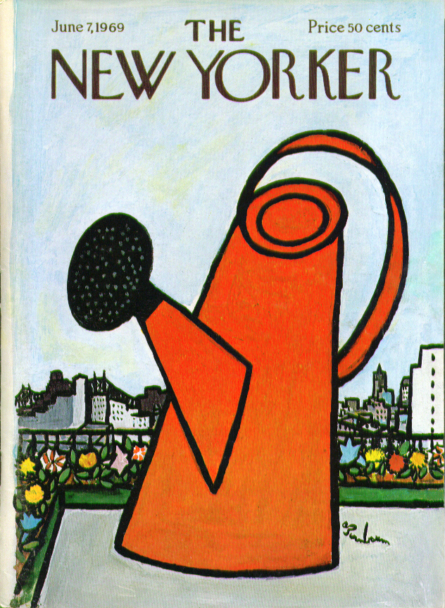 New Yorker cover Birnbaum orange watering can 6/7 1969