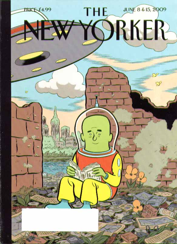 New Yorker cover Clowes spaceman reads book amid dead electronics 6/8 6/15 2009
