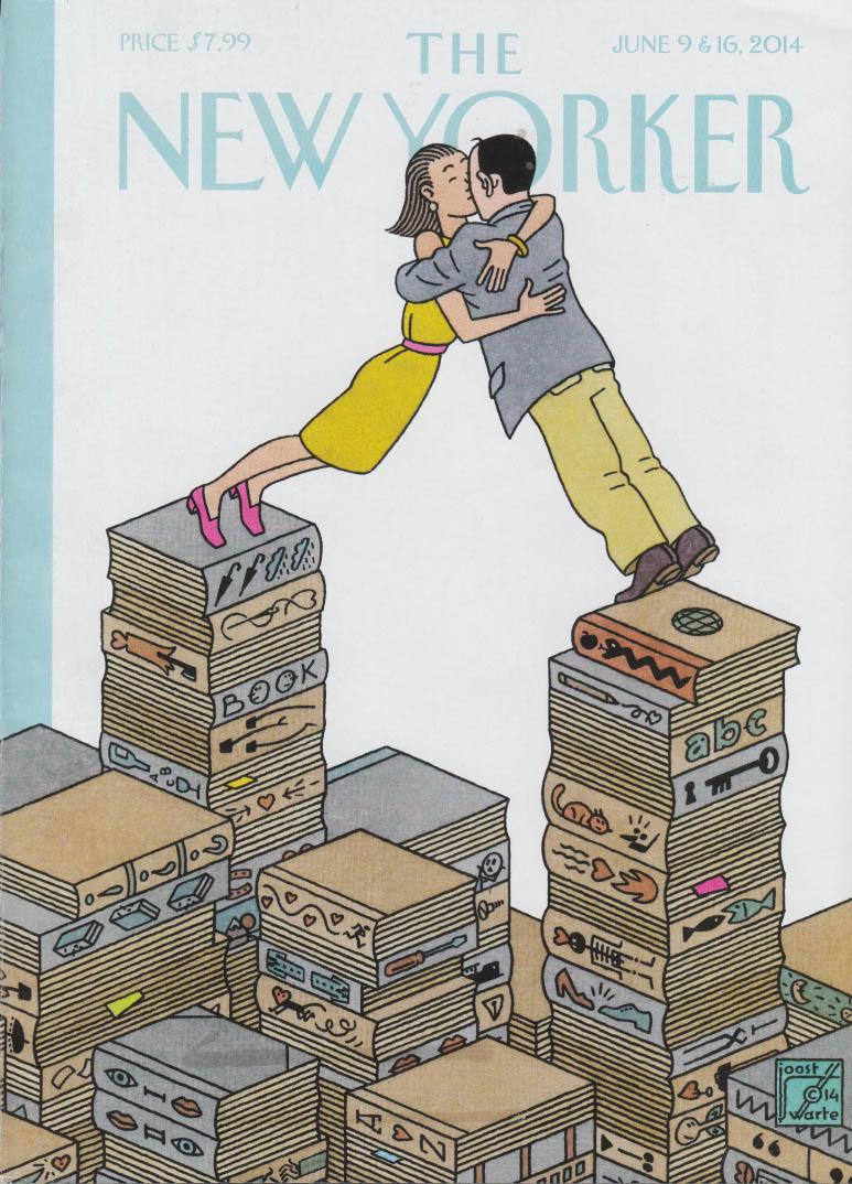 New Yorker cover 6/9-16 2014 Swarte: couple lean to kiss atop stacks of books