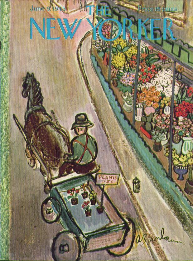 New Yorker cover Birnbaum flower seller shop 6/9 1945
