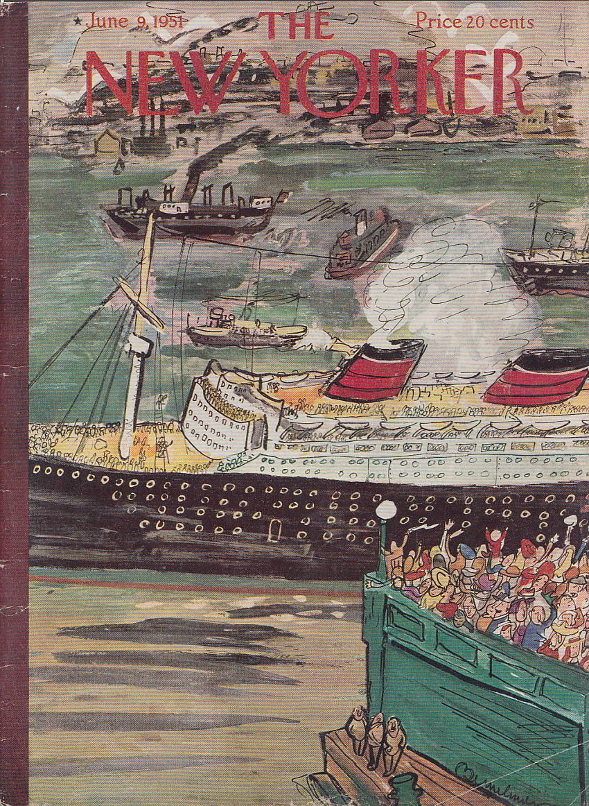 New Yorker cover Bemelmans ocean liner sails from cheering crowd 6/9 1951