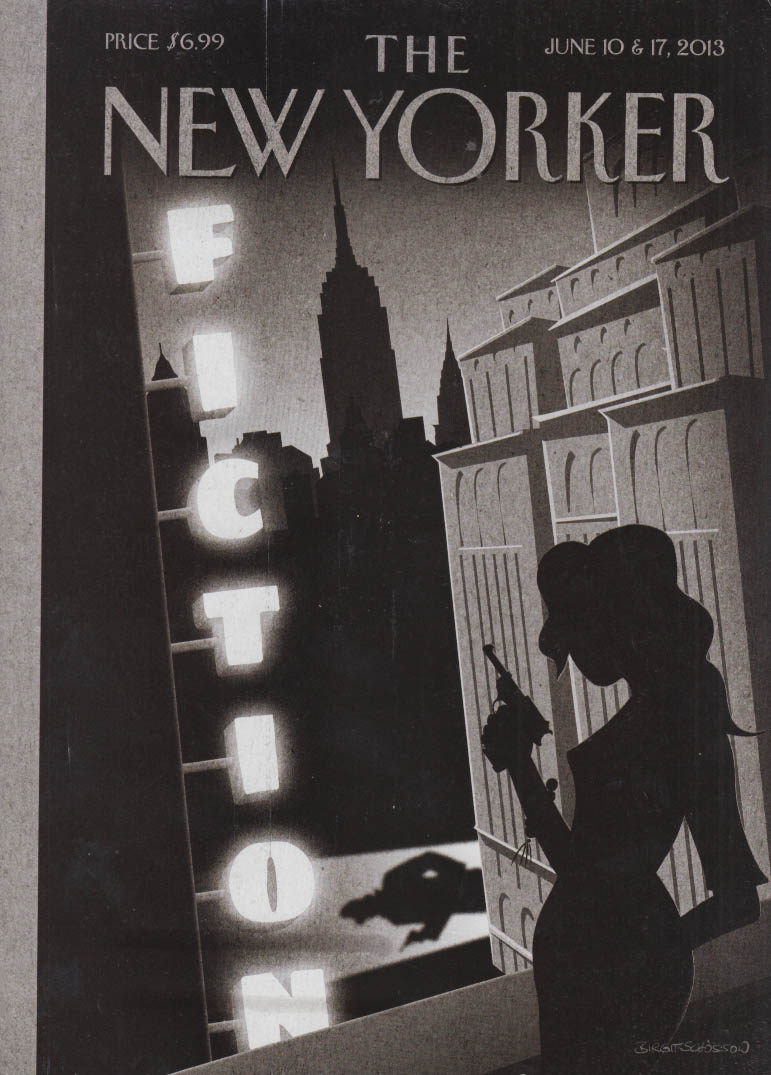 New Yorker cover 6/10-17 2013 Schosson: Fiction issue woman assasin