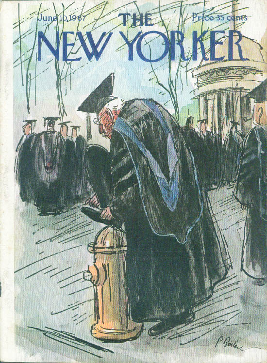 New Yorker cover Barlow graduation professor ties shoe on fire hydrant 6/10 1967