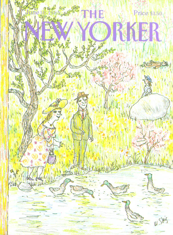 New Yorker cover Steig couple feeding the ducks 6/10 1985