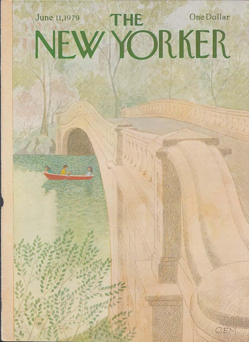 New Yorker cover Charles E Martin park rowboat bridge 6/11 1979