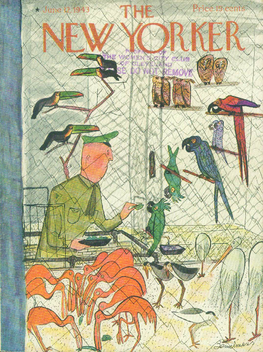 New Yorker cover Bemelmans soldier feed birds 6/12 1943