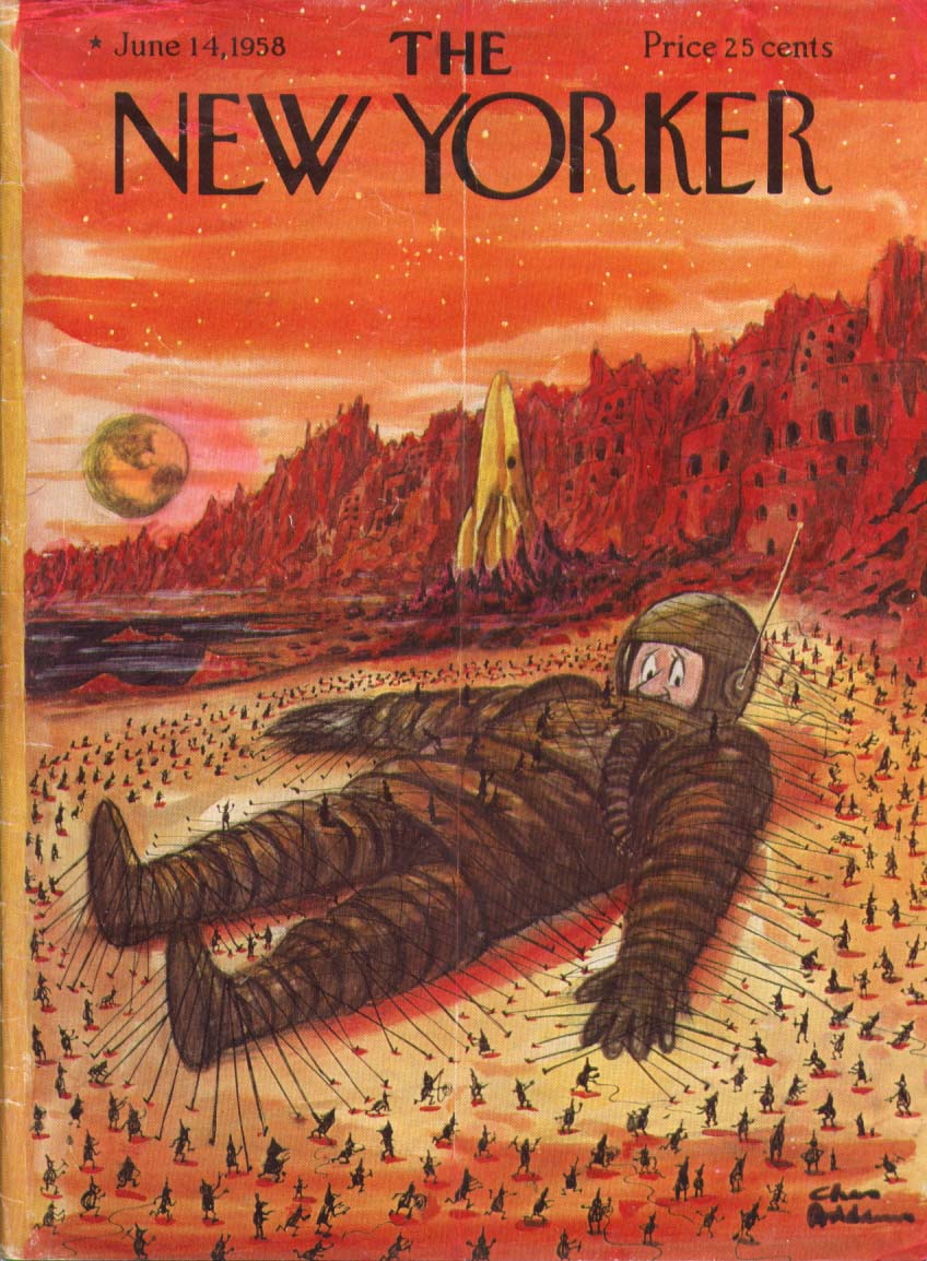 New Yorker cover Addams spaceman Gulliver 6/14 1958