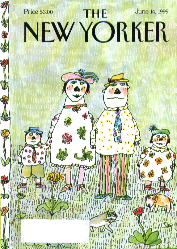 New Yorker cover Steig family of four + cat & dog flowers 6/14 1999