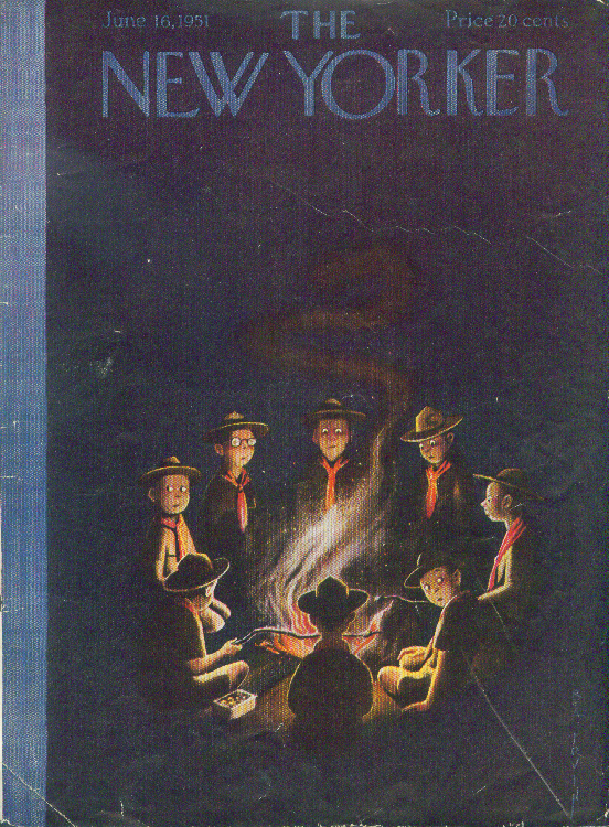 New Yorker cover Irvin Boy Scouts campfire 6/16 1951