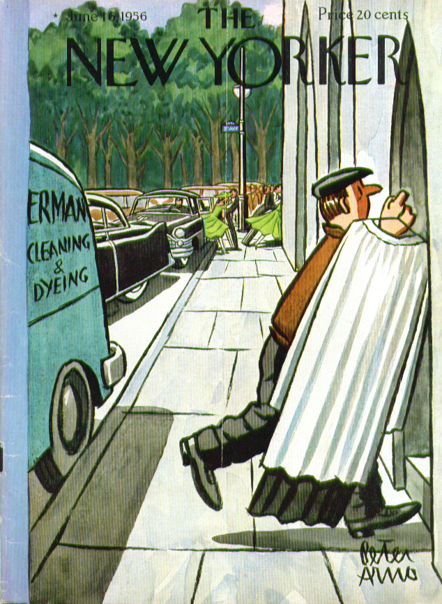 New Yorker cover Arno late-arriving minister's cassock 6/16 1956