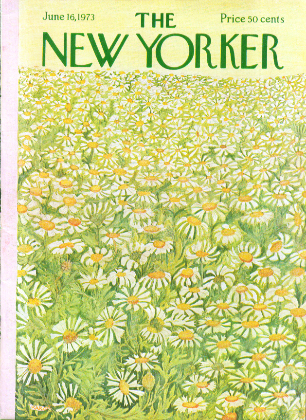 New Yorker cover Karasz field of daisies 6/16 1973