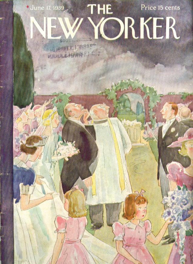 New Yorker cover Barlow dark clouds outdoor wedding 6/17 1939