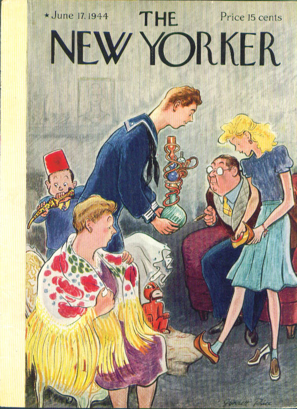New Yorker cover Price sailor gives hookah souvenirs 6/17 1944