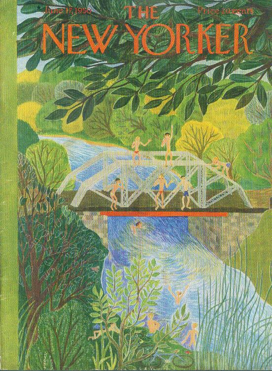 New Yorker cover Karasz swimming river bridge 6/17 1950