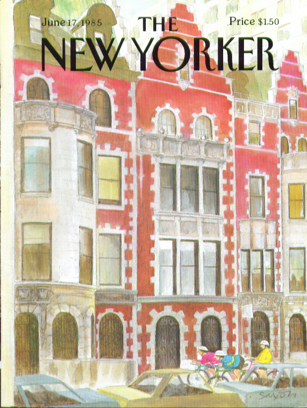 New Yorker cover Saxon cycling past 6/17 1985