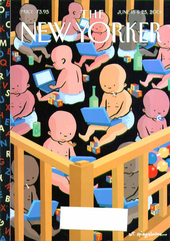New Yorker cover Art Spiegelman babies in crib smoking & web browsing 6/18 2001