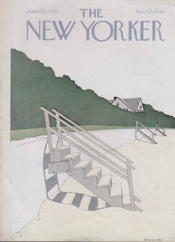 New Yorker cover Simpson steps to beach 6/18 1979