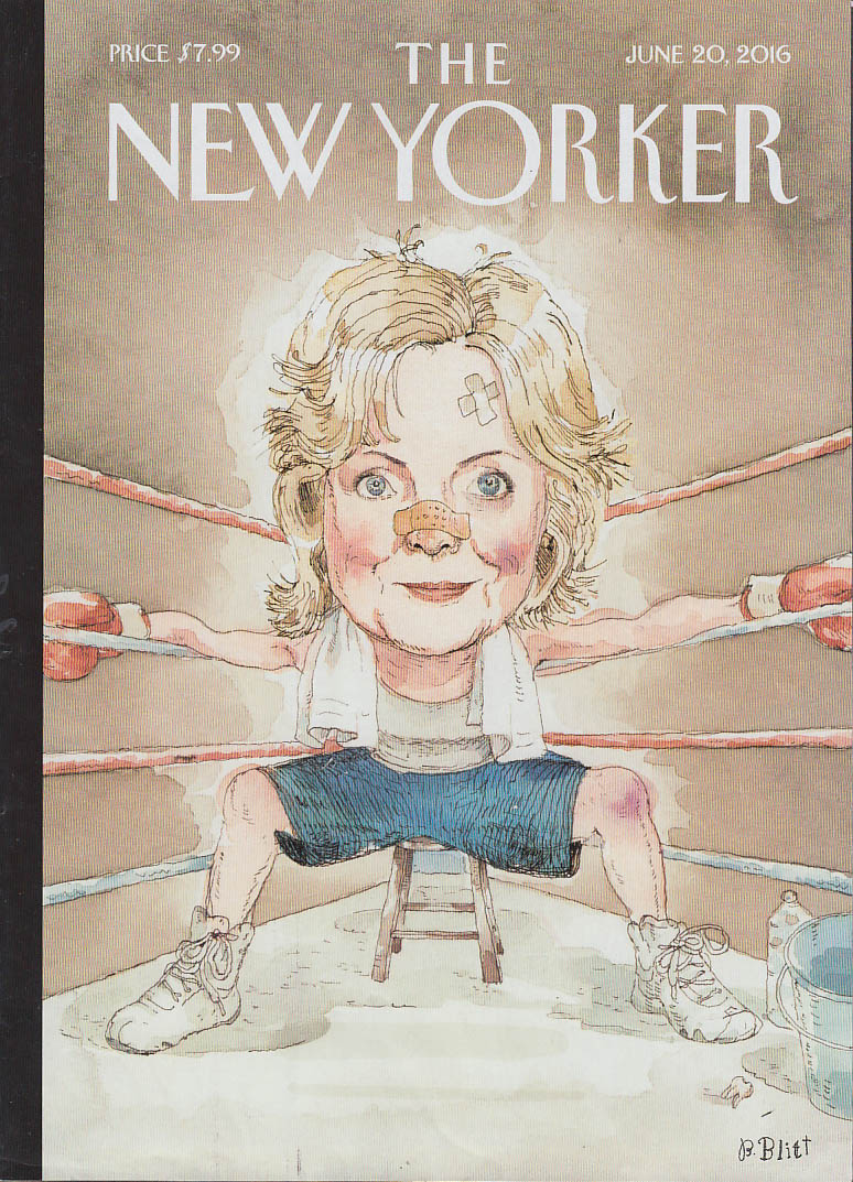 New Yorker cover Blitt 6/20 2016 Battered boxer Hillary set to come out fighting
