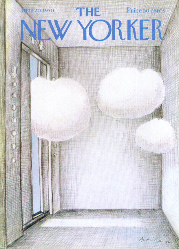 New Yorker cover Francois clouds in elevator 6/20 1970