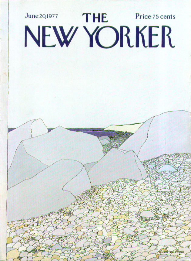 New Yorker cover Simpson rocks pebbles beach 6/20 1977