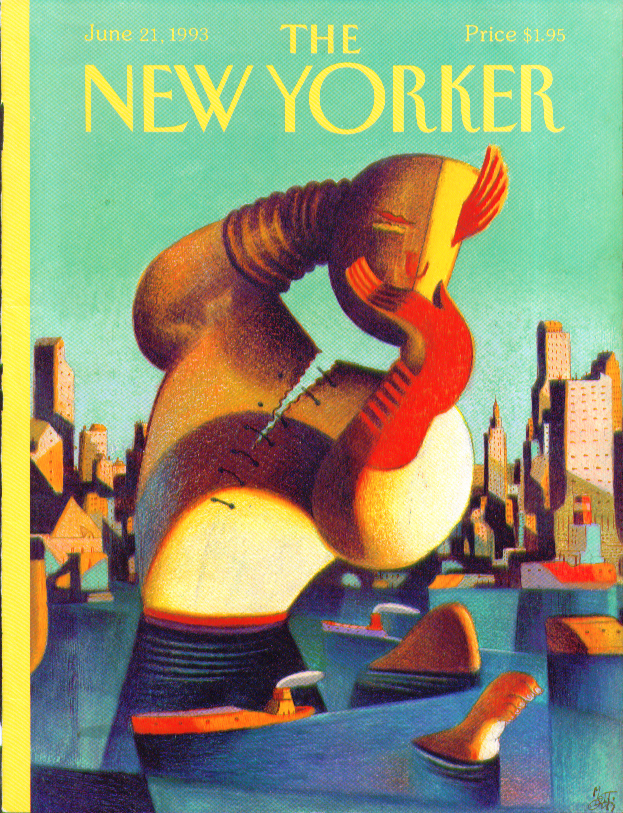 New Yorker cover Mattiotti monster from the harbor rises 6/21 1993