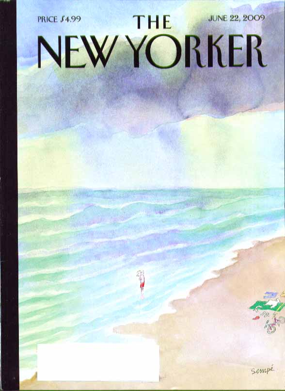 Image for New Yorker cover Jean-Jacques Sempe lone bather shivers in surf 6/22 2009