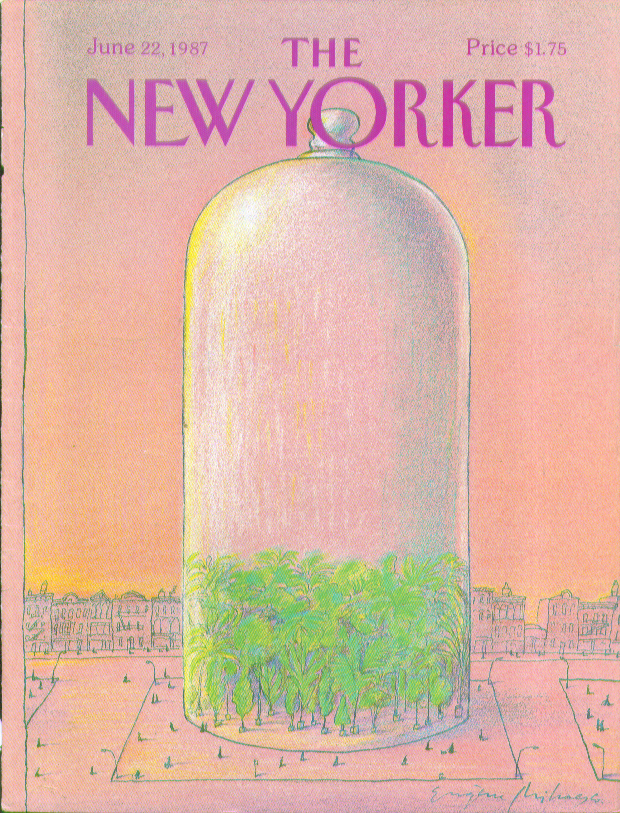 Image for New Yorker cover Mihaesco enormous glass dome 6/22 1987