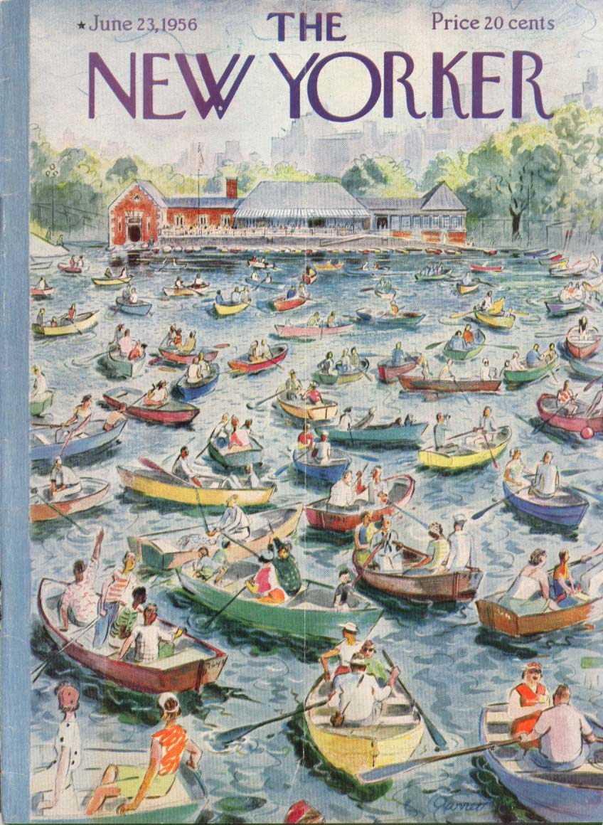 New Yorker cover Price park pond boat jam 6/23 1956