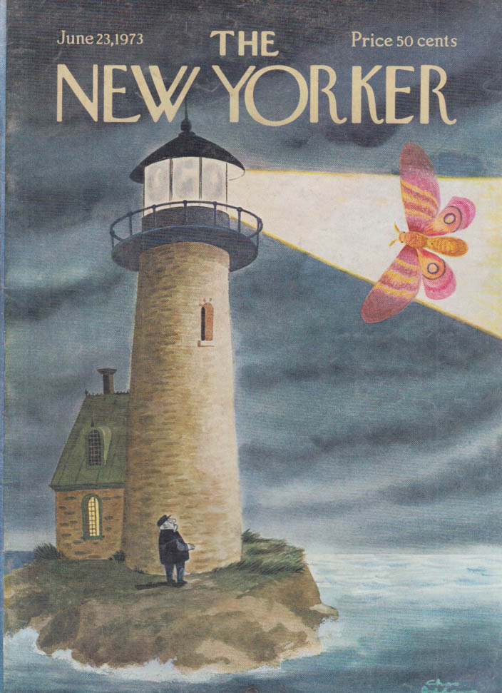 New Yorker cover Addams lighthouse huge moth 6/23 1973