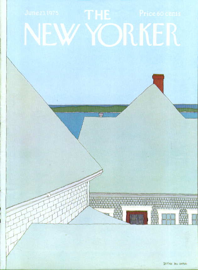 New Yorker cover Simpson beach house rooftops 6/23 1975